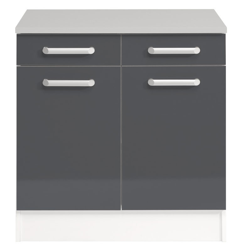 Meuble bas 2 tiroirs 2 portes 60 cm shiny gris for Meuble bas 2 portes