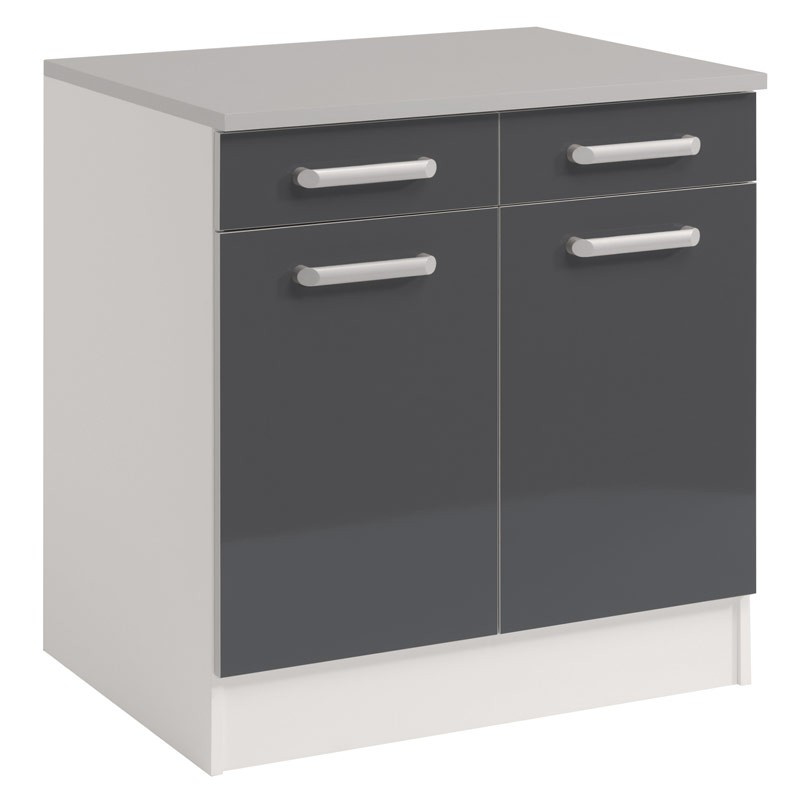 Meuble bas 2 tiroirs 2 portes 60 cm shiny gris for Meuble 2 tiroirs 60 cm woodstock
