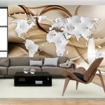 "Papier Peint ""World Map White & Diamonds"""