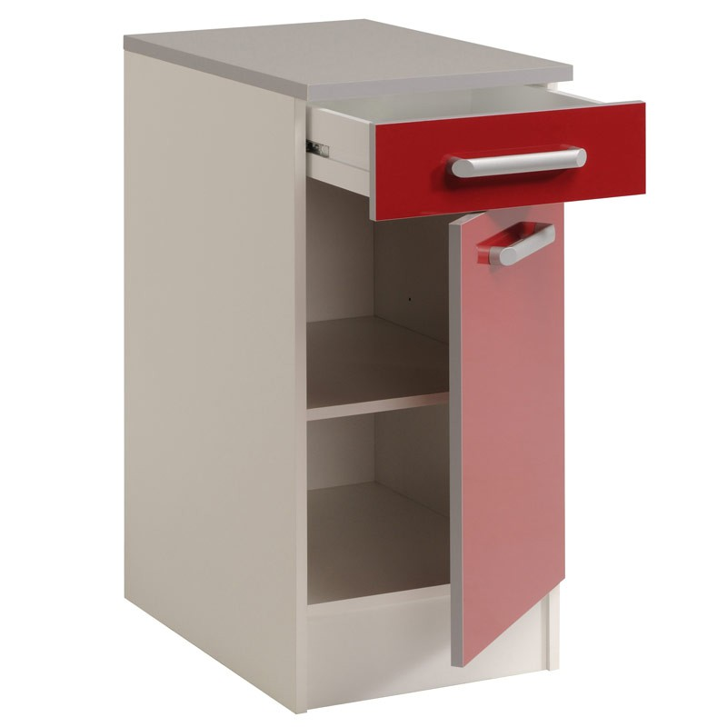 Meuble bas 1 tiroir 1 porte 40 cm shiny rouge for Meuble porte rouge