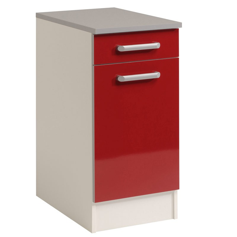 Meuble bas 1 tiroir 1 porte 40 cm shiny rouge for Meuble 1 porte