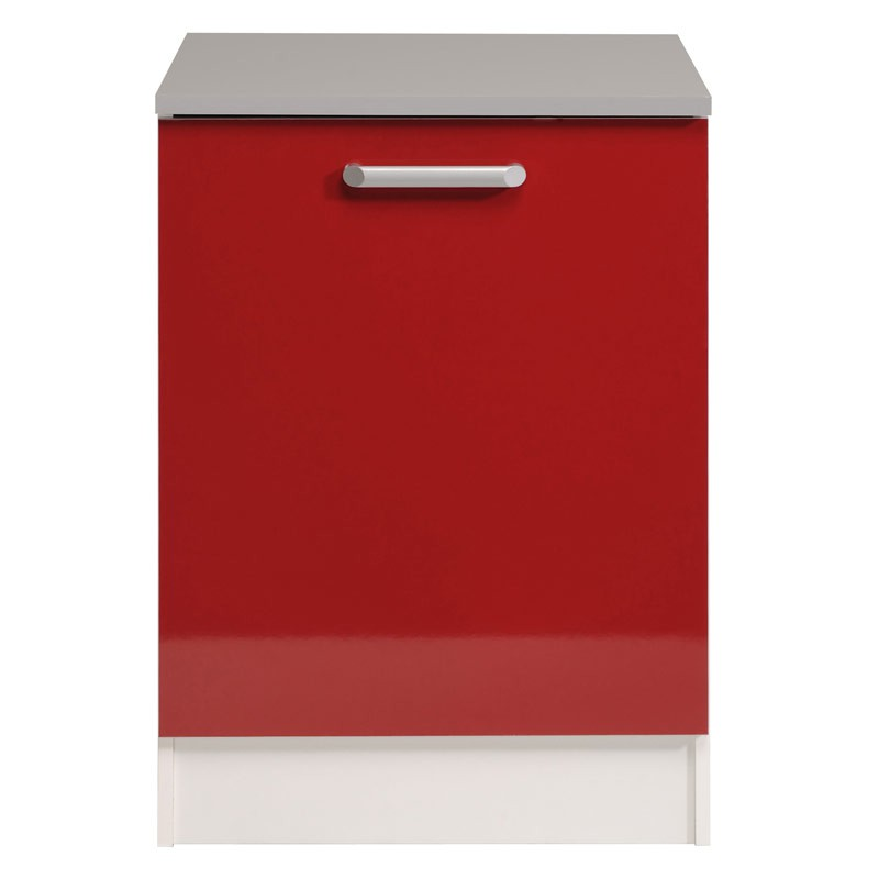 Meuble bas 1 porte 60 cm shiny rouge for Porte 60 cm cuisine