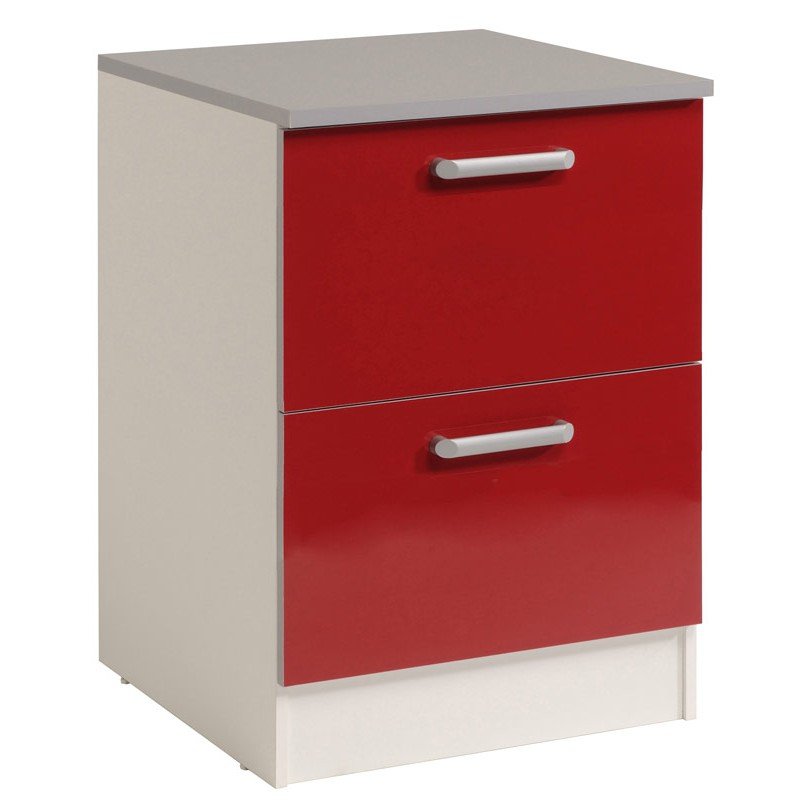 Meuble bas 2 tiroirs 60 cm shiny rouge for Meuble 2 tiroirs 60 cm woodstock