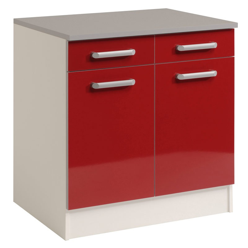 Meuble bas 2 tiroirs 2 portes 60 cm shiny rouge for Meuble 2 tiroirs 60 cm woodstock