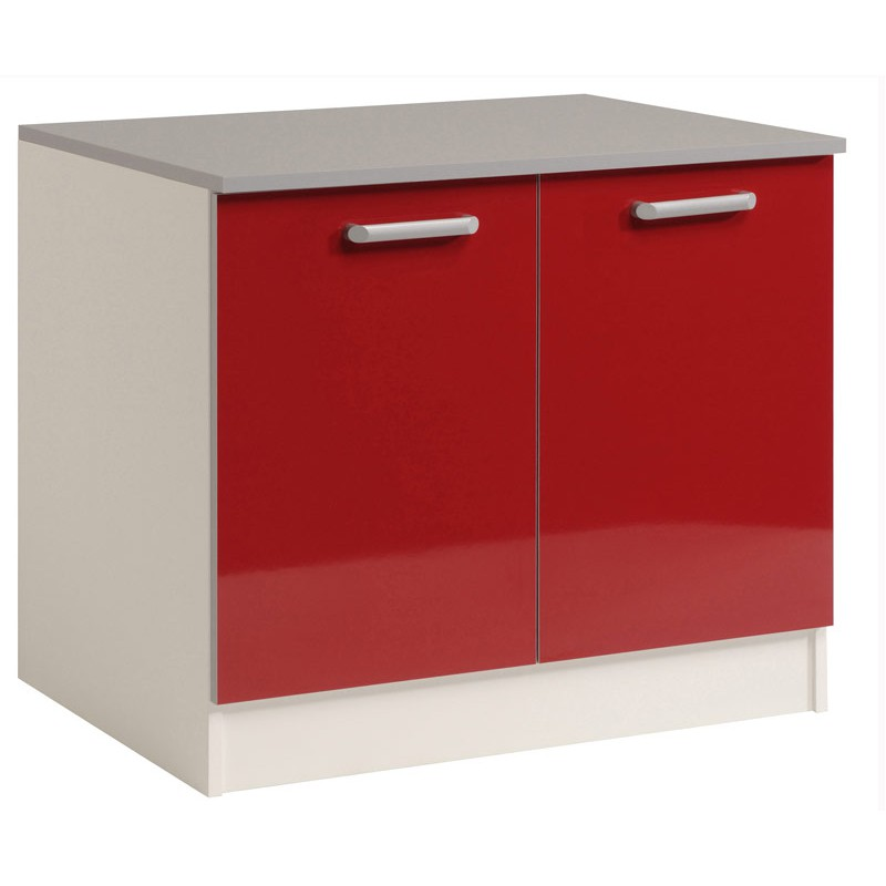 Meuble bas 2 portes 120 cm shiny rouge for Meuble cuisine bas 2 portes