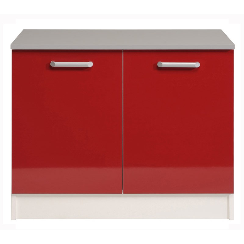 Meuble bas 2 portes 120 cm shiny rouge for Meuble 120 cm