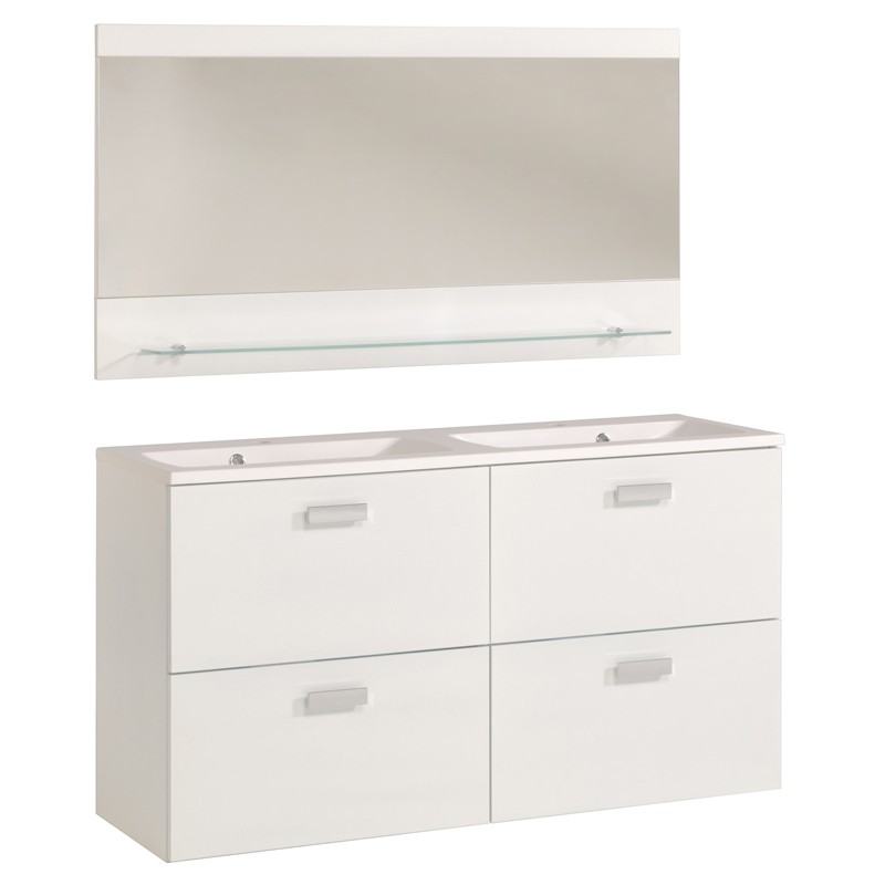 Ensemble meuble 2 vasques miroir 120cm deluxe blanc for Meuble 2 vasques