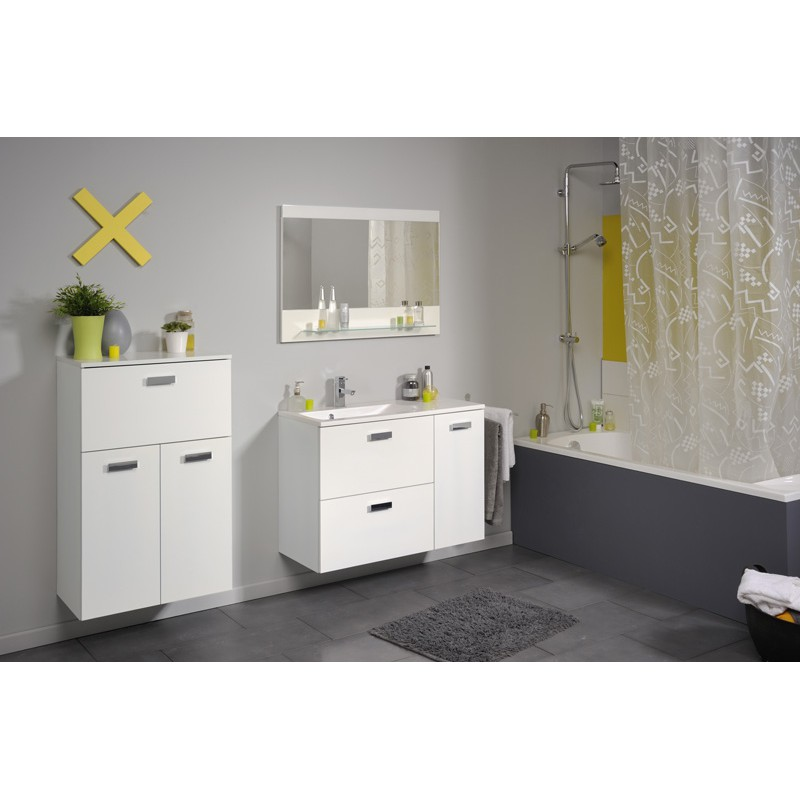 Ensemble meuble vasque miroir 90cm deluxe blanc for Ensemble meuble vasque