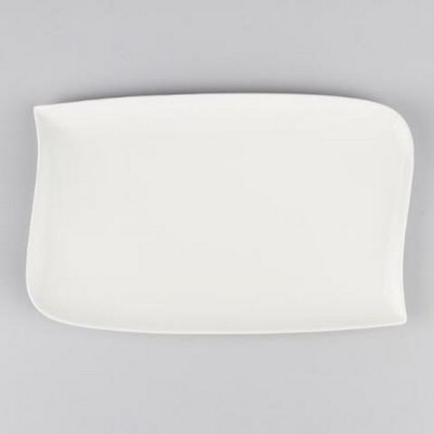 "Lot de 6 Assiettes Plates Rectangulaire ""Vague""  33cm Blanc"