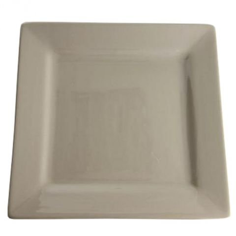 "Lot de 6 Assiettes Plates ""Carré"" 27cm Taupe"