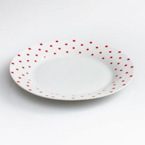 "Lot de 6 Assiettes Plates ""Poa"" 27cm Rouge"