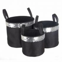 "Set de 3 Paniers Ronds ""Glam Chic"" Noir"