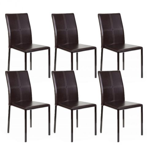 "Lot de 6 Chaises ""Elvio"" Marron"
