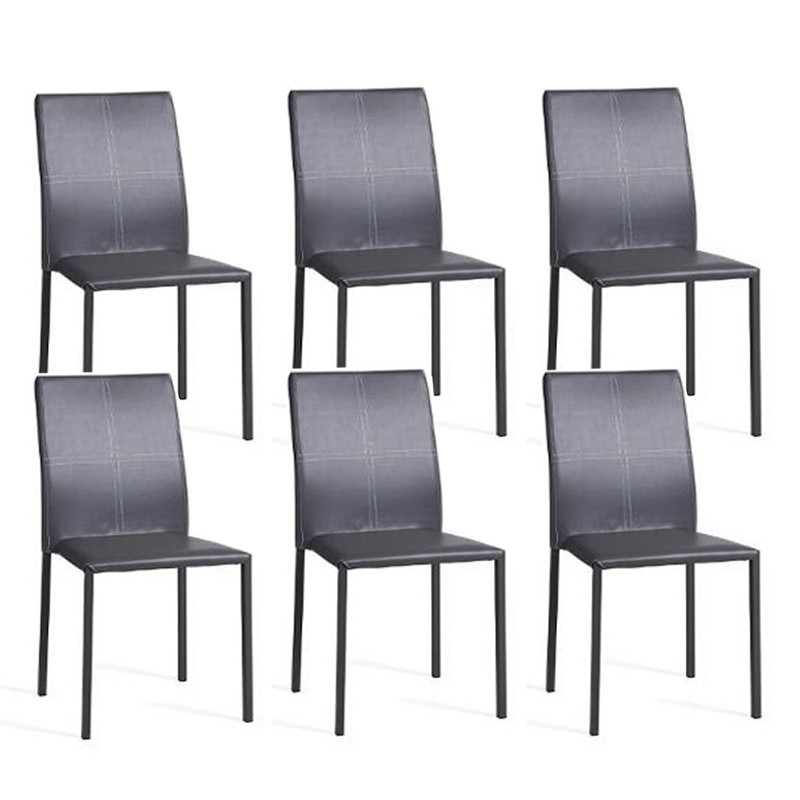 lot de 6 chaises elvio gris. Black Bedroom Furniture Sets. Home Design Ideas