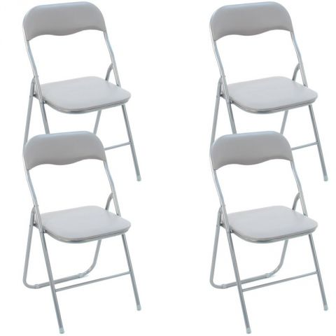 "Lot de 4 Chaises Pliantes ""Basic"" Gris"