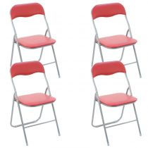 "Lot de 4 Chaises Pliantes ""Basic"" Rouge"