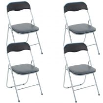 "Lot de 4 Chaises Pliantes ""Basic"" Noir"