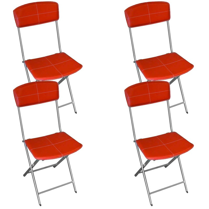 Lot de 4 chaises pliables en simili cuir rouge - Chaise en cuir rouge ...