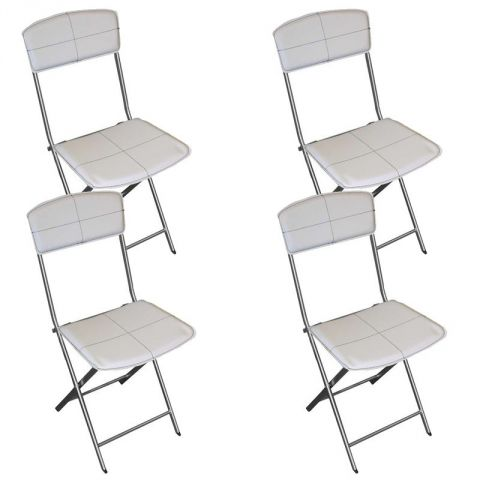 Lot de 4 chaises pliables en simili cuir blanc for Chaise en cuir blanc