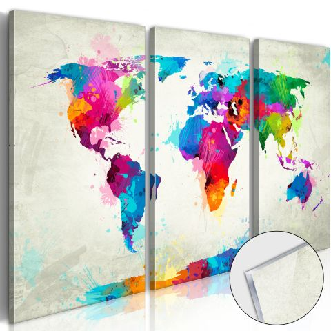 "Tableau sur Verre Acrylique ""World Map : An Explosion of Colours"""