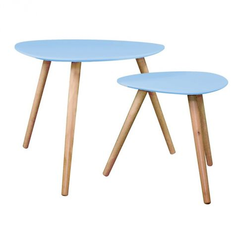 "Set de 2 Tables d'Appoint Design ""Mileo"" Bleu"