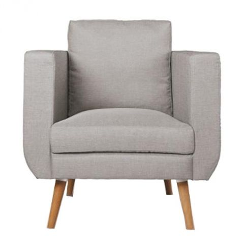 "Fauteuil Club ""Bocky"" Tissu Gris"
