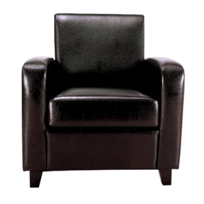 fauteuil club bocky simili cuir noir. Black Bedroom Furniture Sets. Home Design Ideas