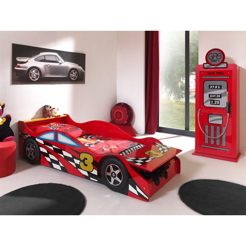 pack lit enfant voiture race armoire 1 porte pompe essence rouge. Black Bedroom Furniture Sets. Home Design Ideas