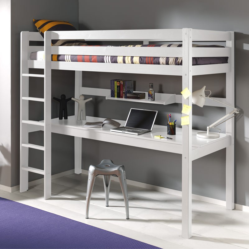 lit enfant superpos bureau etag re pino blanc. Black Bedroom Furniture Sets. Home Design Ideas