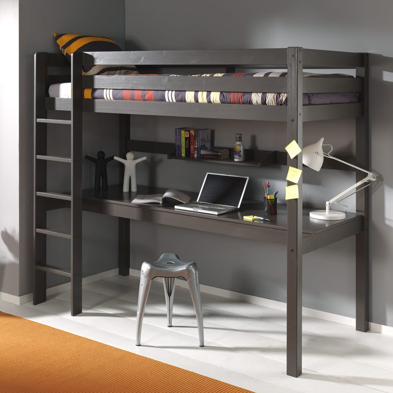 lit enfant superpos bureau etag re pino taupe. Black Bedroom Furniture Sets. Home Design Ideas