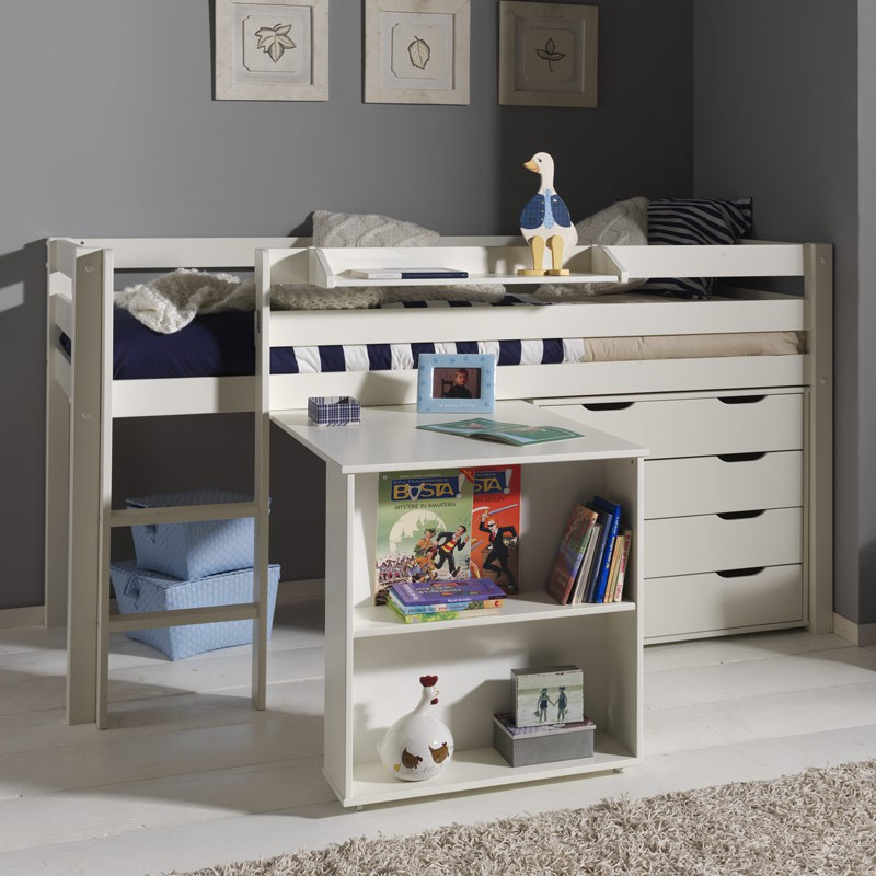 Pack lit enfant bureau commode 4 tiroirs pino blanc for Bureau 4 tiroirs
