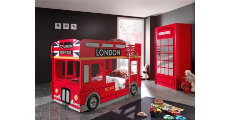 pack lit superpos enfant bus armoire 2 portes cabine londres rouge. Black Bedroom Furniture Sets. Home Design Ideas