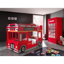"Pack - Lit Superposé Enfant Bus & Armoire 2 Portes Cabine ""Londres"" Rouge"
