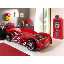 "Pack - Lit Enfant Voiture ""Night Speeder"" & Armoire 1 Porte ""Pompe à Essence"" Rouge"