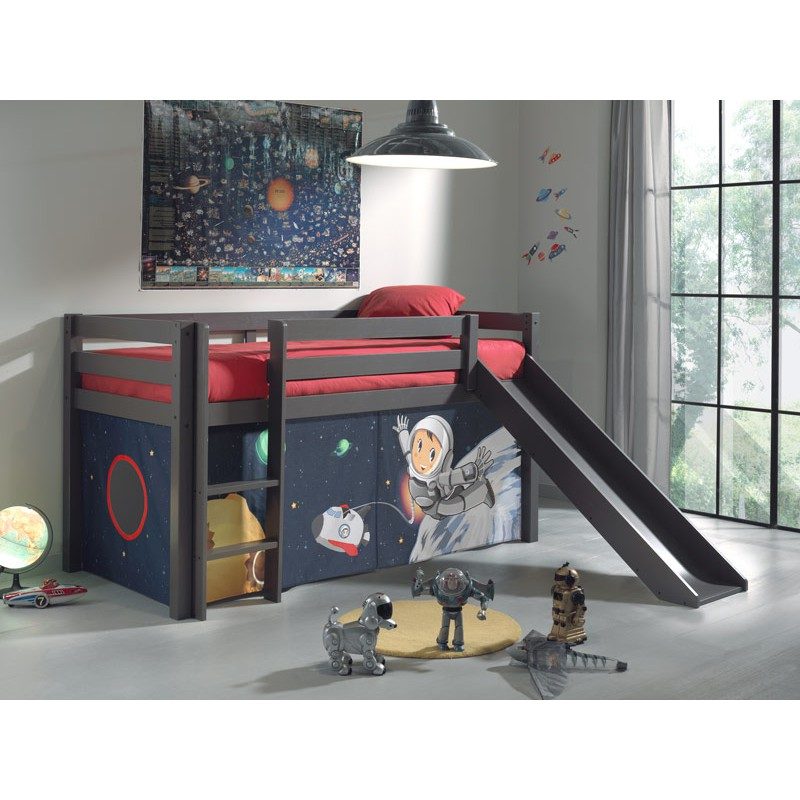 lit enfant avec toboggan pino astronaute taupe. Black Bedroom Furniture Sets. Home Design Ideas