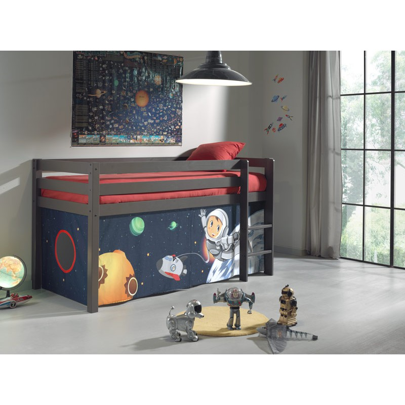 lit enfant sans toboggan pino astronaute taupe. Black Bedroom Furniture Sets. Home Design Ideas