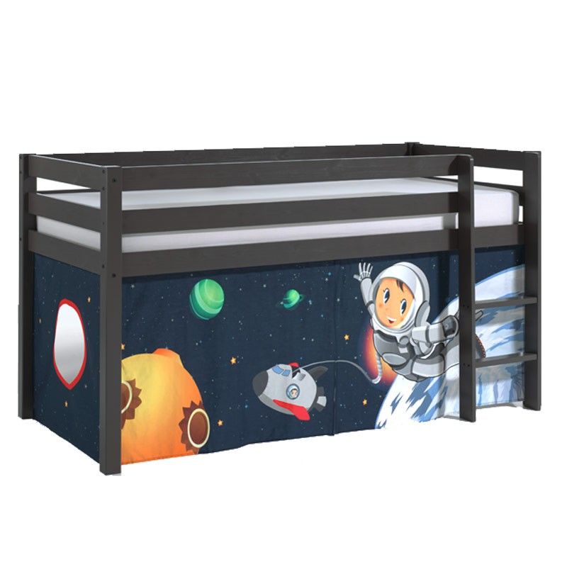 lit enfant sans toboggan pino astronaute gris. Black Bedroom Furniture Sets. Home Design Ideas