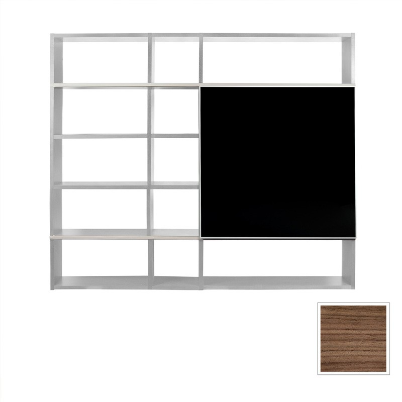 temahome etag re biblioth que pombal 3 noyer noir. Black Bedroom Furniture Sets. Home Design Ideas