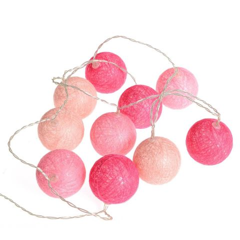 "Guirlande Led ""10 Boules"" 165cm Rose"