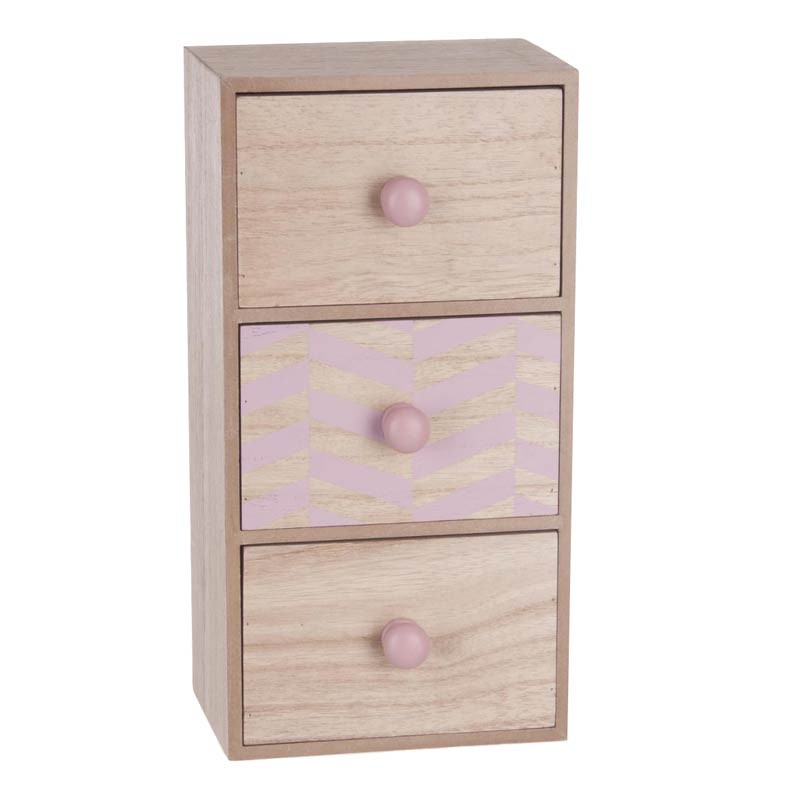 bo te de rangement 3 tiroirs scandinave 30cm rose. Black Bedroom Furniture Sets. Home Design Ideas