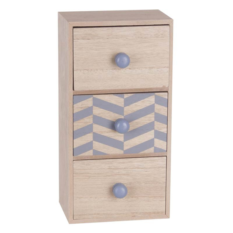 bo te de rangement 3 tiroirs scandinave 30cm gris. Black Bedroom Furniture Sets. Home Design Ideas