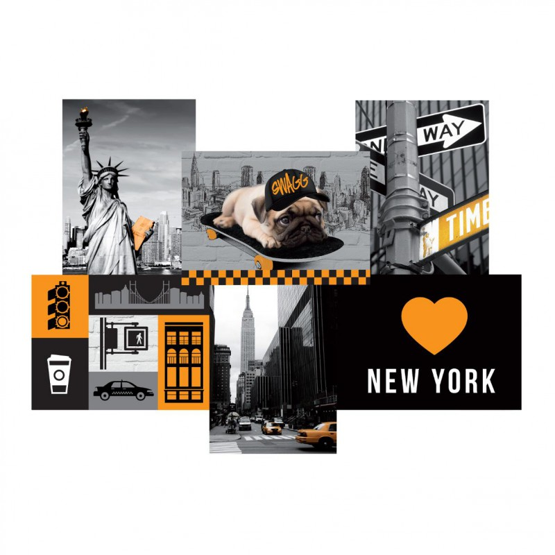 toile imprim e city new york 49x35cm jaune. Black Bedroom Furniture Sets. Home Design Ideas