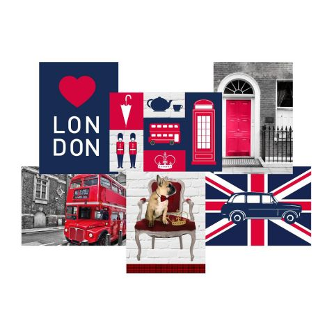 "Toile Imprimée City ""London"" 49x35cm Rouge"