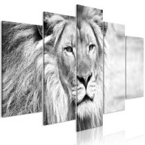 """Tableau 5 Panneaux """"The King of Beasts Wide Black & White"""""""
