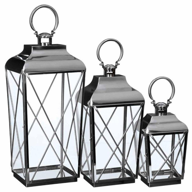 Lot de 3 lanternes exterieur palerme 69cm inox verre for Grossiste decoration interieur