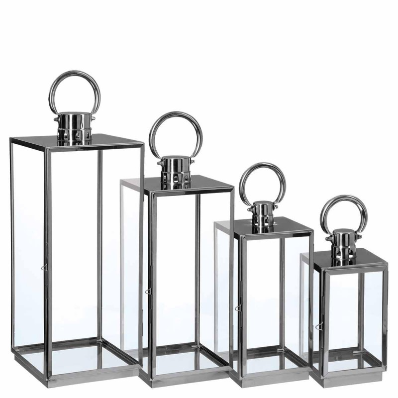 lot de 4 lanternes exterieur mod ne 67cm inox verre. Black Bedroom Furniture Sets. Home Design Ideas