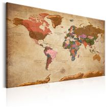 "Tableau Imprimé ""World Map : Brown Elegance"""