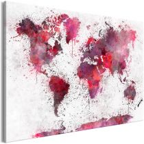 "Tableau Imprimé ""World Map : Red Watercolors Wide"""