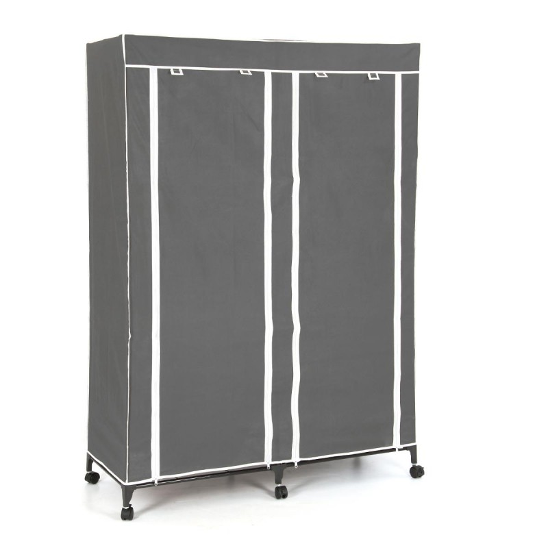 armoire de rangement v tement double gris. Black Bedroom Furniture Sets. Home Design Ideas