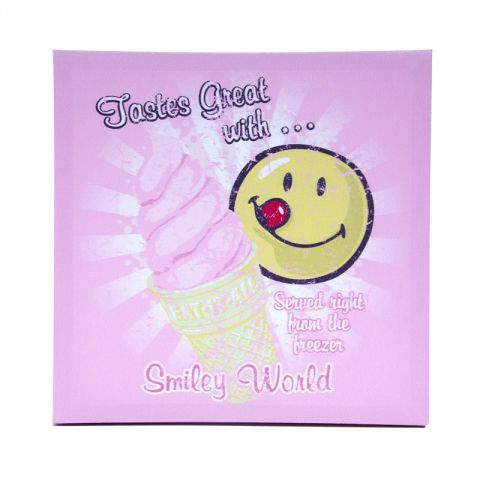 "Toile Imprimée ""Smiley World"" 30x30cm Rose"